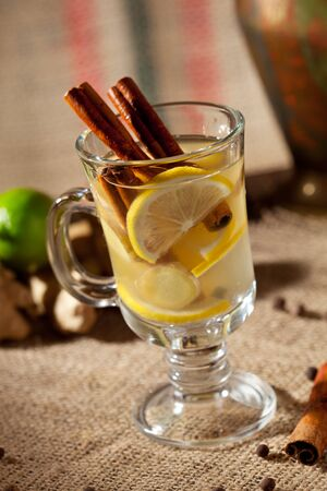 warm drink: Warm Drink with Cinnamon, Ginger and Lemon
