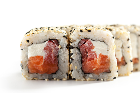 smoked salmon: Maki Sushi - Roll made of Smoked Salmon, Cream Cheese and Pepper inside. Sesame ouside