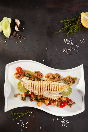 sea bass: Fillet of Sea Bass with Vegetables and Lime