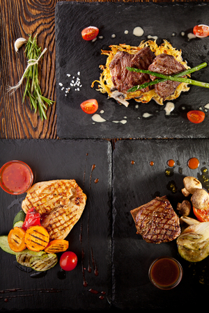 garnish: Grilled Foods - Beef Steak and BBQ Chicken with Various Garnish