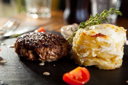 steak grill: Beef Steak with Mashed Potato and Mushrooms Sauce