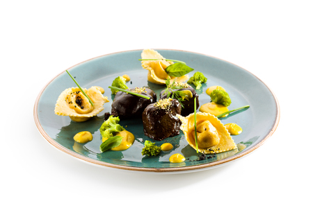 cheek: Glazed Beef Cheek with Tortellini and Broccoli