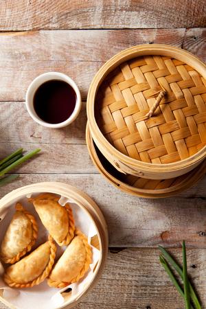 dim sum: Various Dim Sum in Bamboo Steamed Bowl Stock Photo