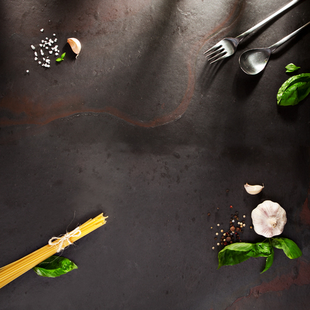 Food Ingredient on Black Slate Background