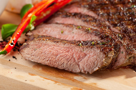 flank: Grilled Flank Steak with Rosemary Stock Photo