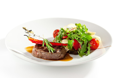 chops: Beef Steak with Vegetable Garnish
