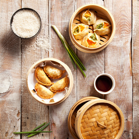 Various Dim Sum in Bamboo Steamed Bowl Stock Photo