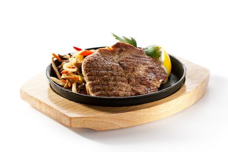 Gegrilde Pork Chop (hals) met Pan-Fried Vegetable Stockfoto