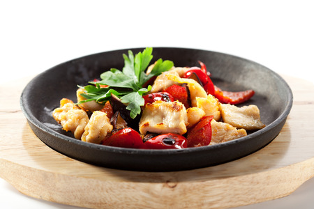 fry: Asian Style Chicken Stir-Fry with Vegetables Stock Photo