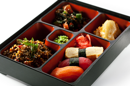 lunch meal: Bento Lunch - Sushi, Salad and Meal