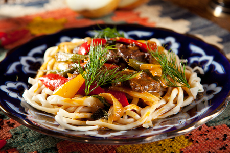 Uyghur-Style Noodles with Meat and Laghman Sauce Stock Photo