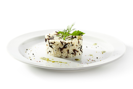 Cooked Rice on White Plate