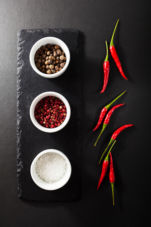 spice: Spice and Red Chili Pepper on Black Slate Dish