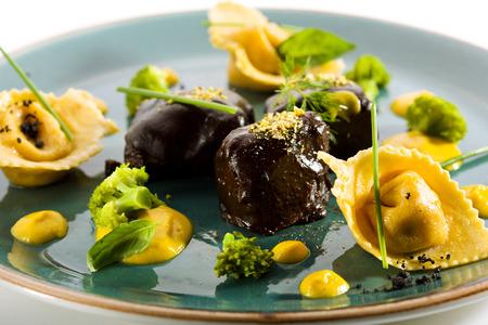 tortellini: Glazed Beef Cheek with Tortellini and Broccoli