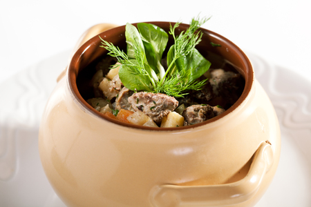 Veal Pot with Potato and Vegetables Stock Photo