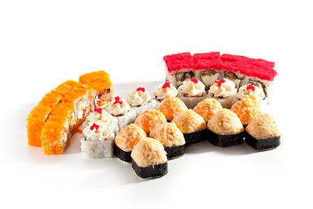 over white background: Sushi Set over White Background Stock Photo