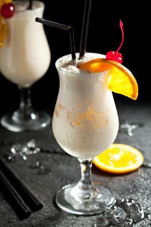 colada: Pina Colada - Cocktail with Cream, Pineapple Juice and Rum Stock Photo
