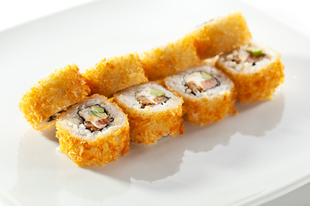 fried: Tempura Maki Sushi - Deep Fried Roll made of Fresh Raw Salmon, Avocado and Cream Cheese inside