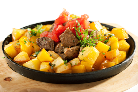 pan fried: Pan Fried Potatoes with Meat Stock Photo