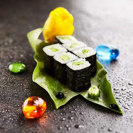 adentro y afuera: Sushi Roll with Cucumber inside. Seaweed outside