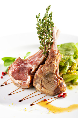lamb: Grilled Rack of Lamb with Vegetables Stock Photo