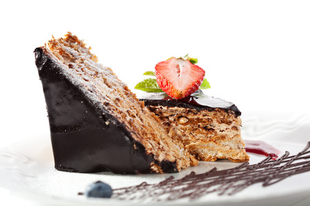 Dessert - Chocolate Nuts Cake with Berries Jam, Strawberry and Fresh Mint
