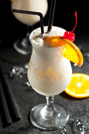 pina: Pina Colada - Cocktail with Cream, Pineapple Juice and Rum Stock Photo