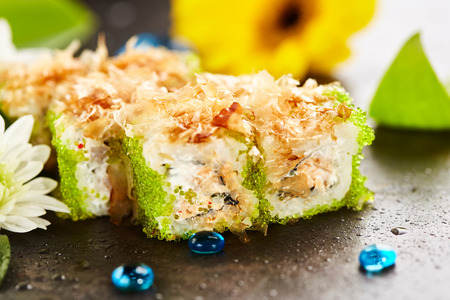 cream cheese: Maki Sushi - Roll with Fried Tuna, Cucumber, Cream Cheese and Tobiko inside. Topped with Dried Shaved Bonito