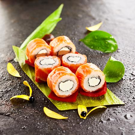 cream cheese: Philadelphia Maki Sushi made of Cream Cheese inside. Salmon outside Stock Photo