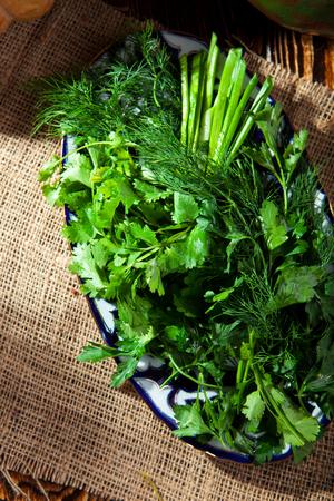green herbs: Fresh Natural Appetizer - Spring Garden Fresh Green Herbs DIsh