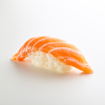 Japanese Sushi - Sake Nigiri Sushi (Salmon Sushi) on White Background Stock Photo