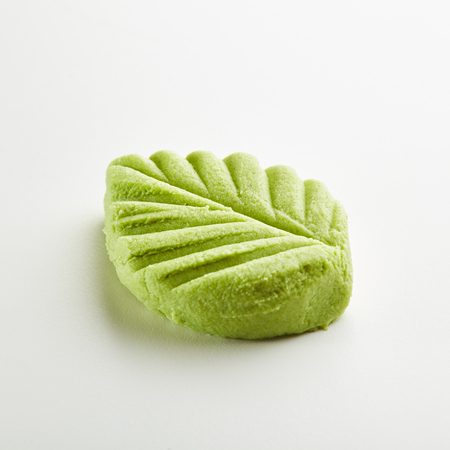 Wasabi Leaf Shape on White Background Stock Photo