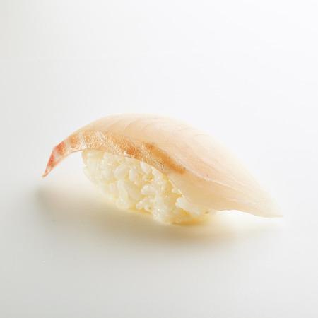 susi: Japanese Sushi - Tai Nigiri Sushi (Sea Bass Sushi) on White Background