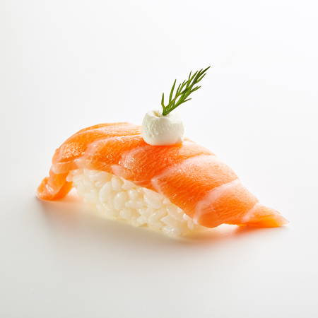 susi: Japanese Sushi - Sake Nigiri Sushi (Salmon Sushi) with Cream Cheese on White Background