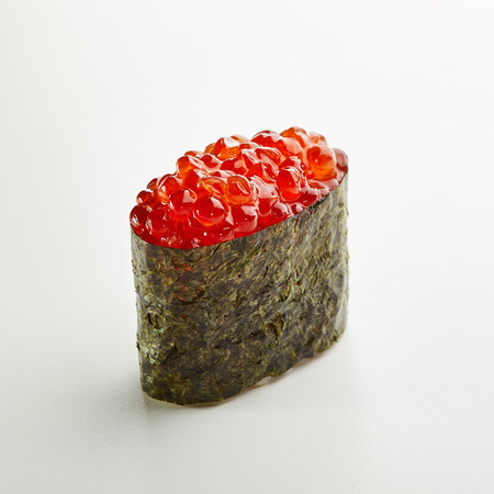 Japanese Sushi - Ikura Gunkan Sushi (Sushi with Salmon Roe) on White Background