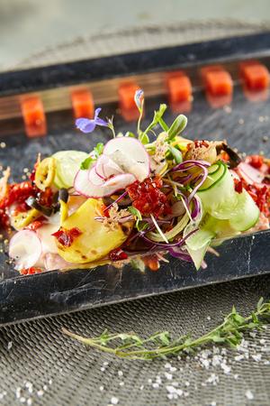 Restaurant Food - Luxury Nicoise Salad. Gourmet French Restaurant Salad Stock Photo
