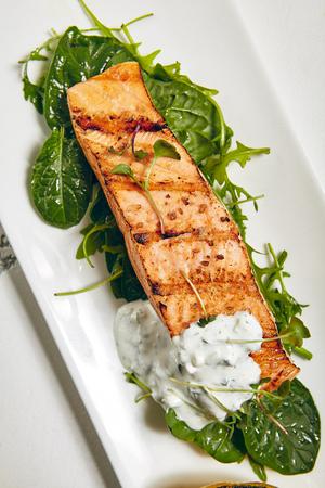 Gourmet Restaurant Grill Fish Menu - Salmon Grill Steak Stock Photo