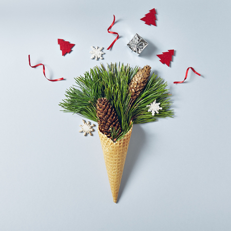 Ice Cream Cone with Christmas Decoration. Minimal Christmas Concept. Flat Lay