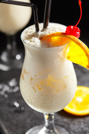 Pina Colada - Cocktail with Cream, Pineapple Juice and Rum Stock Photo