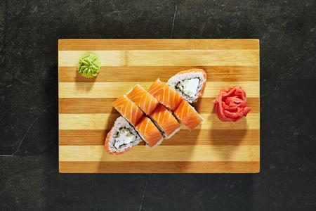 Philadelphia Sushi Roll - Maki Sushi with Philadelphia Cheese inside. Salmon outside. Top VIew