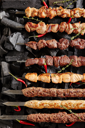 Set of Shish Kebabs or Barbecue Shashlik Collection on Charcoal Background with Herbs and Spices. Skewered Grilled Cubes Mix of Poultry Chicken Meat, Salmon Fish, Beef and Lamb Top View Stock Photo