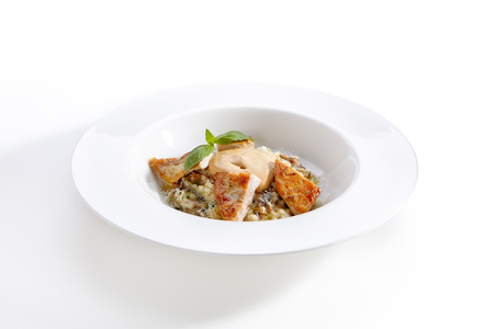 Close-up portrait of mushroom risotto with grilled chicken and mushroom espuma. Yummy dish with golden crust. Restaurant cuisine concept. Isolated on white background
