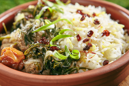 Beautiful Serving Vintage Ceramic Bowl of Roast Meat with Rice and Herbs Close Up. Homemade Grilled Beef, Lamb Fillet with Onions, Raisins, Dried Fruits and Greens on Natural Moss and Wood Standard-Bild - 115864788