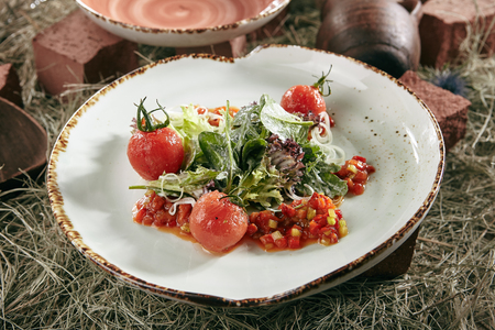Green Vegan Salad with Baked Sweet Pepper, Red Cherry Tomatoes and Lettuce Leaves on Natural Vintage Ceramic Plate. Beautifully Served Cooked Vegetables with Homemade Sauce on Rustic Hay Background