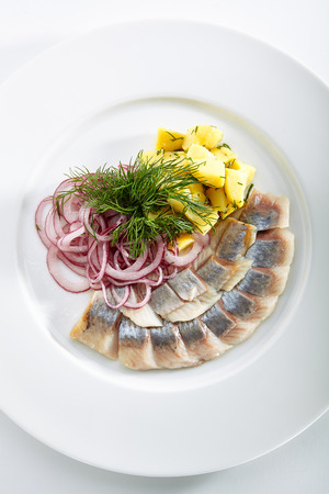 Restaurant Seafood Menu with Salted Herring, Onion Rings and Boiled Diced Potato on Elegant Restaurant Plate. Pieces of Marinated Fish Fillet Decorated with Green Dill Top View Standard-Bild - 115864959