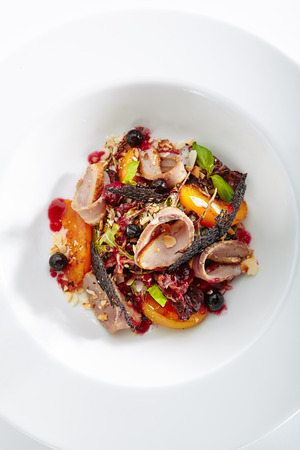 Duck Breast Salad with Bonfire Aroma and Warm Peach on Elegant Restaurant Plate Top View. Gourmet French Dinner of Poultry Meat with Berries and Nuts Serving in High Kitchen Style Standard-Bild - 115864965