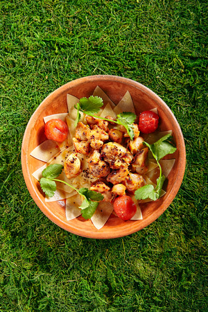 Beautiful Serving Vintage Ceramic Bowl of Azeri Guru Hinkal Pasta with Chicken and Tomatoes on Natural Moss and Wood Stock Photo