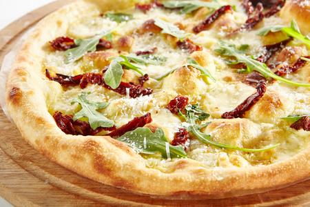 Thin Crispy Focaccia with Mozzarella Stock Photo