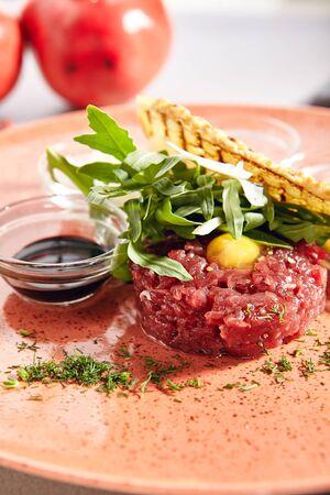 Steak tartare made from raw ground beef