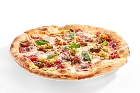 Seafood pizza closeup. Foto de archivo